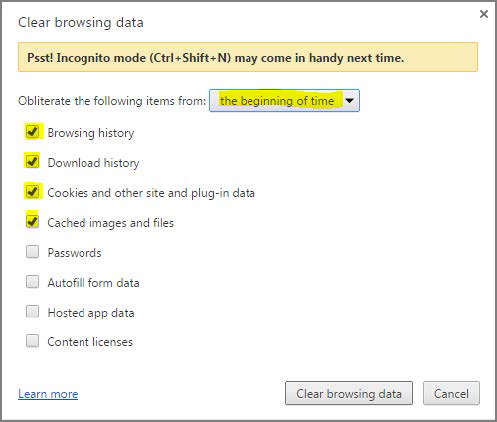 Clear browsing data window, with the beginning of time highlighted in yellow, and the first four checkboxes - browsing history, download history, cookies and other site and plug-in dta, and cached images and file - checked and highlighted in yellow.