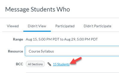Screenshot: select the students.