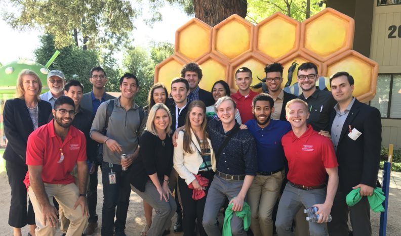 WSU Harold Frank Engineering Entrepreneurship Institute students posing at Google Headquarters in Mountain View, California in 2017.