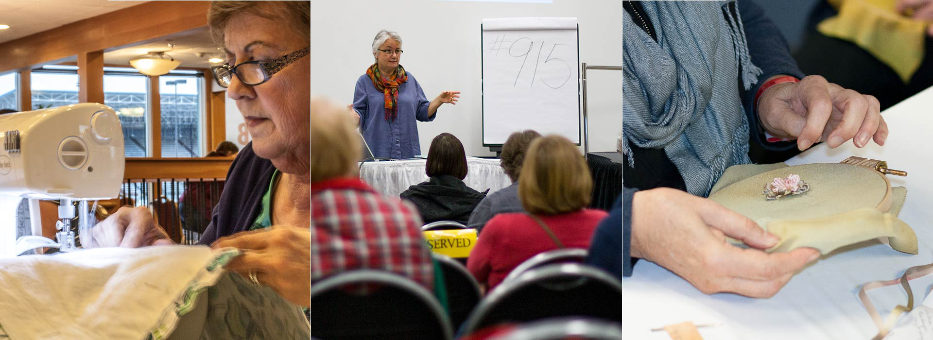 Three images of Sew Expo classes - woman at sewing machine, teacher in front of class, close up of hands embroidering