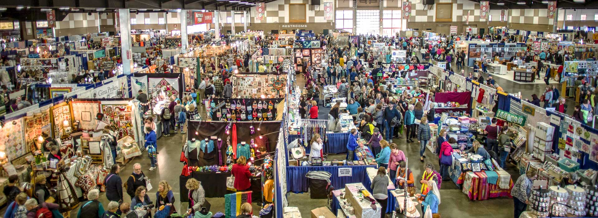 (Panoramic Image) Vendor booths in the Showplex building during the 2018 Expo.