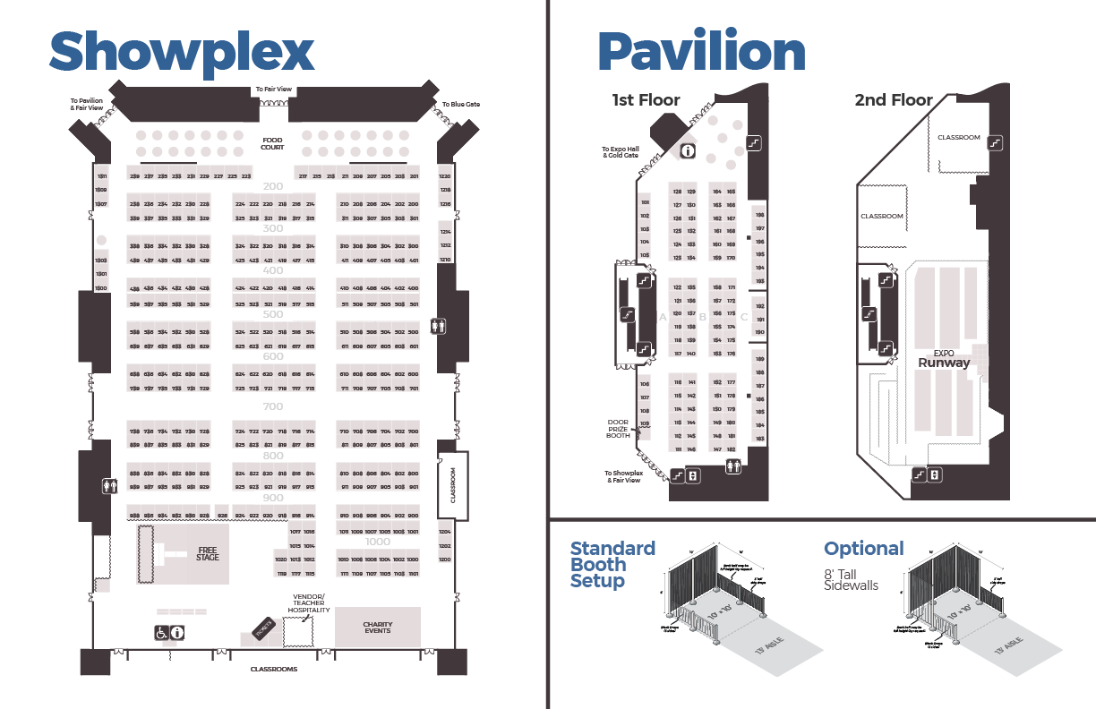 Schematic of three vendor building floorplans, and illustration of two booth configurations.