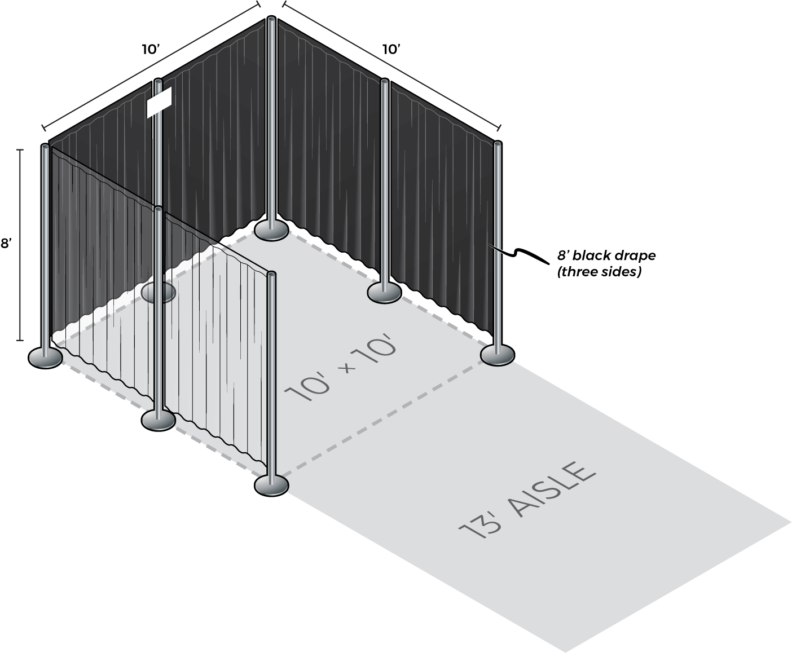 [Illustration] Standard 10 foot by 10 foot booth with black draped side and back walls.