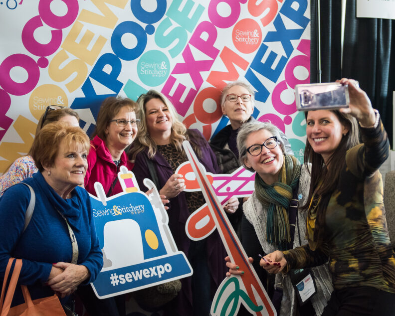Attendees stop by the Selfie Station at the 2020 Sewing and Stitchery Expo.