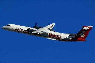 Alaska Airlines showing its Crimson Spirit