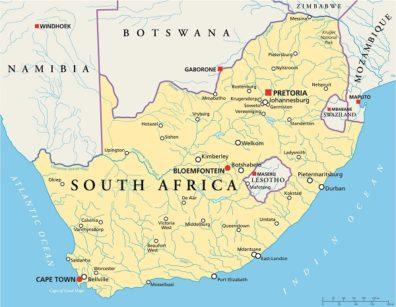 Map highlighting Swaziland