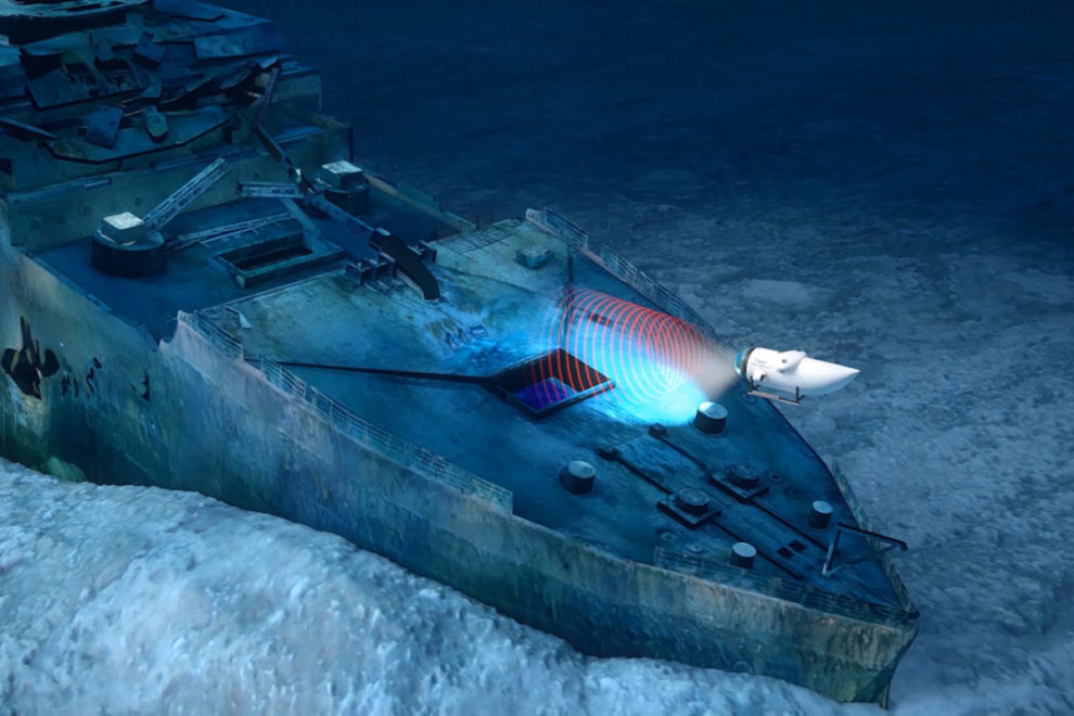 A render of the sub using sonic scanning of the Titanic