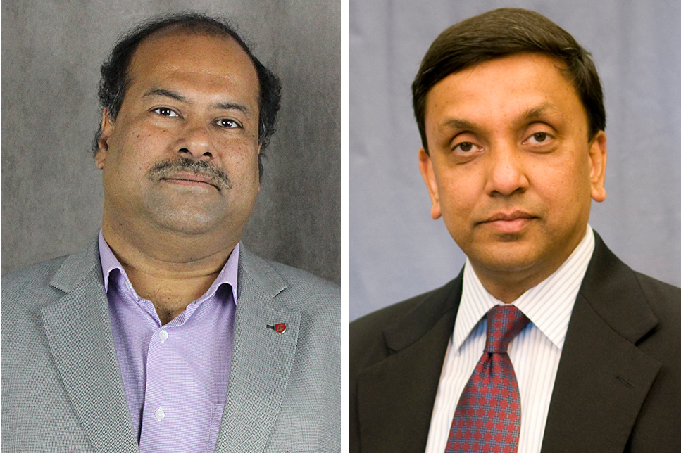 Partha Pande, left, and Indranath Dutta, named directors of the School of Mechanical and Materials Engineering and the School of Electrical Engineering and Computer Science, respectively.