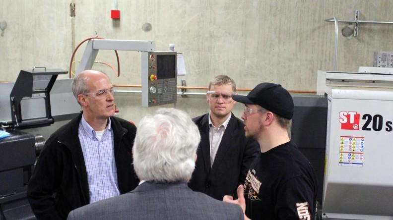 Congressman Rick Larsen, Bob Drewel (back), Councilman Ken Klein, student Blaine Liukko