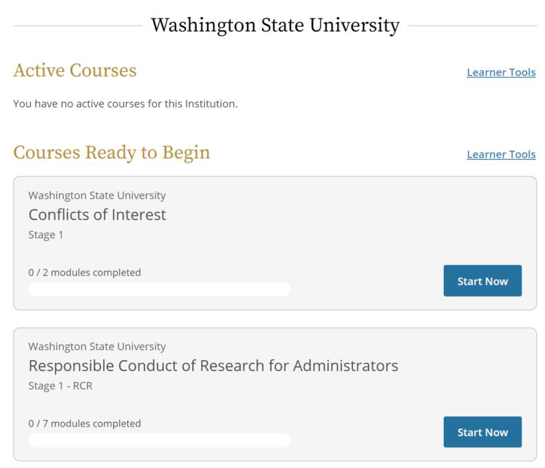 Screenshot of WSU CITI training homepage