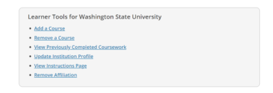 Screenshot of adding a course link