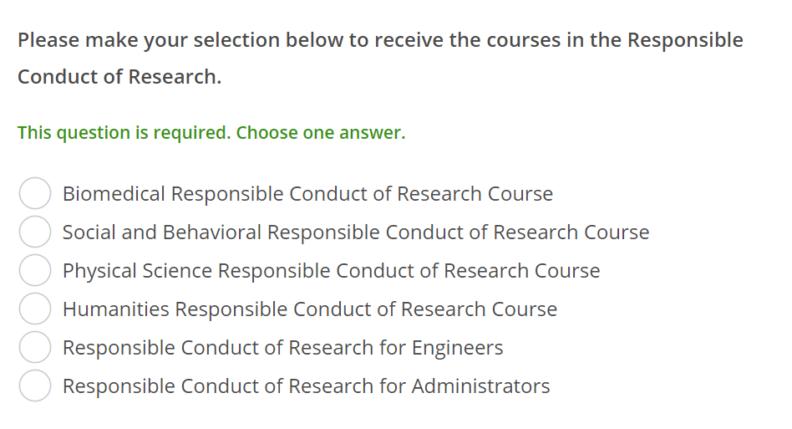 Screenshot of selecting RCR course type