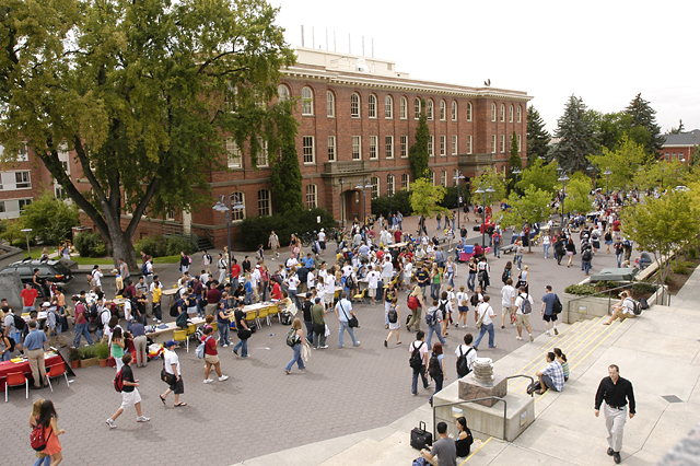 Image of many students participating in Coug Fest.