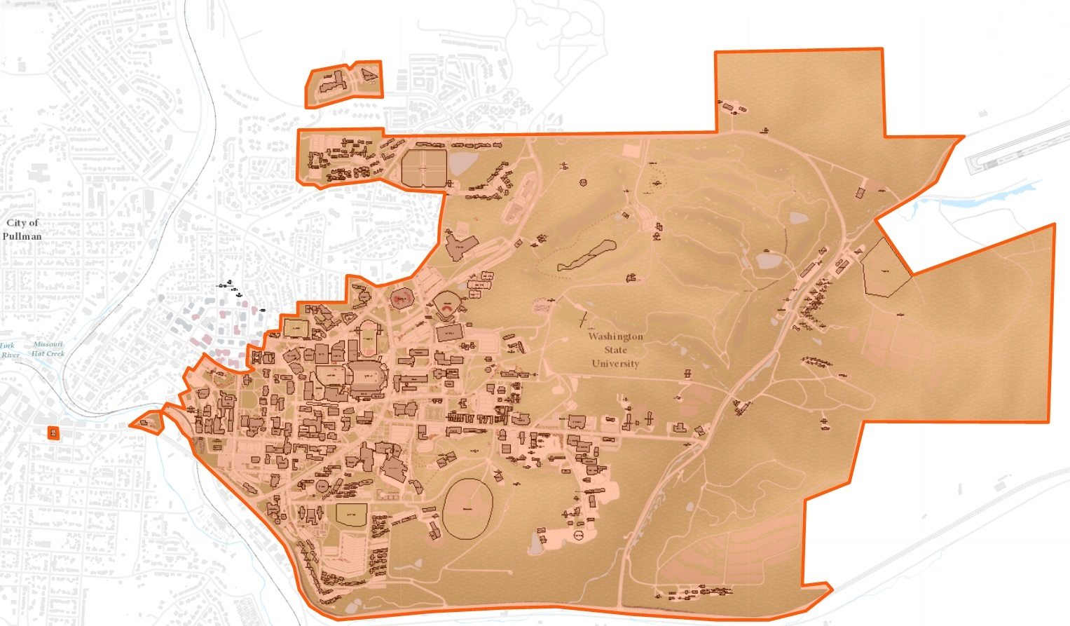 map outlining WSU Pullman Campus Geography