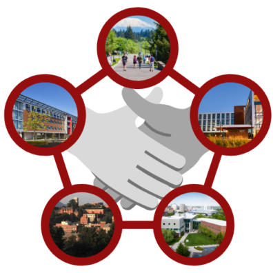a graphic depicting a web of campus photos united by a handshake.