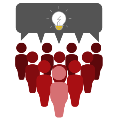 graphic depicting a group of people with a thought bubble containing a lightbulb.