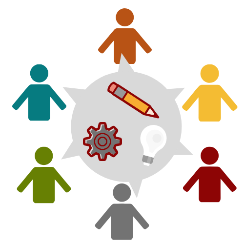 Illustration of abstract people in a circle talking to each other, with a pencil, gear, and light bulb in the center to represent ideas