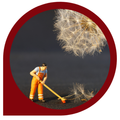 image depicting a man sweeping