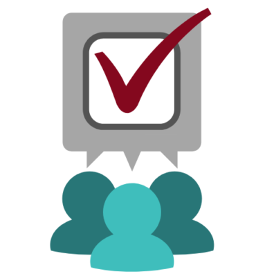 graphic depicting a group with a speech bubble containing a checkmark to indicate a decision made.