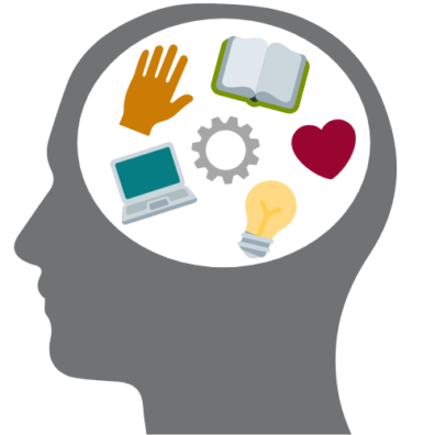 a cosmetic graphic depicting a person thinking about various facets of the manager's toolkit.