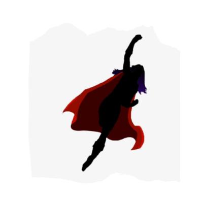 Decorative graphic depicting a super hero.