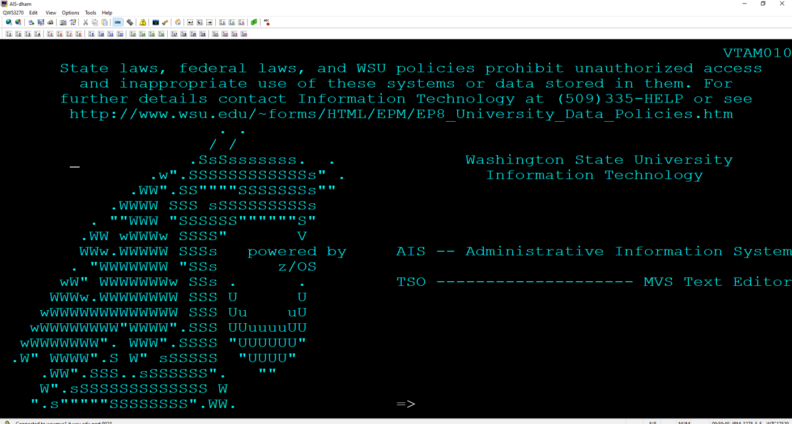 A screenshot of green text on a black computer screen. The characters form the shape of the WSU logo: a cougar head.