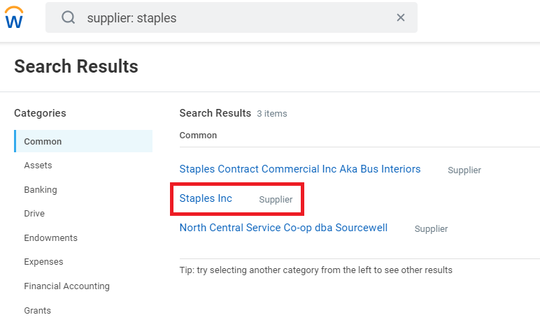 The search results, displaying Staples Inc.