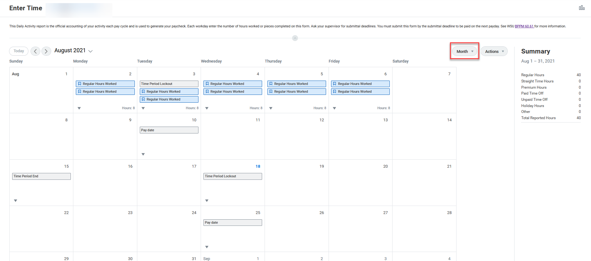 A screenshot of the new monthly view of the Time Entry Calendar.