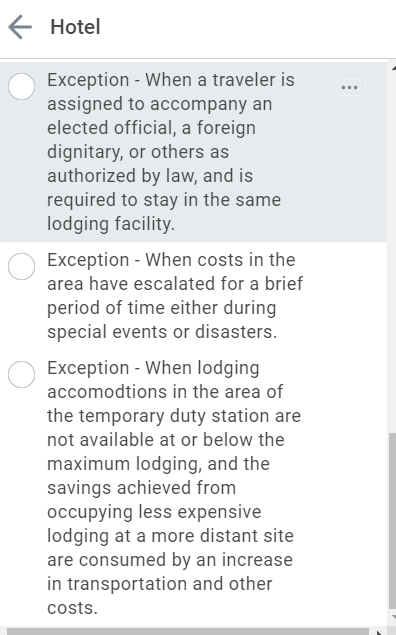 Screenshot of new Lodging Exceptions without numbers.