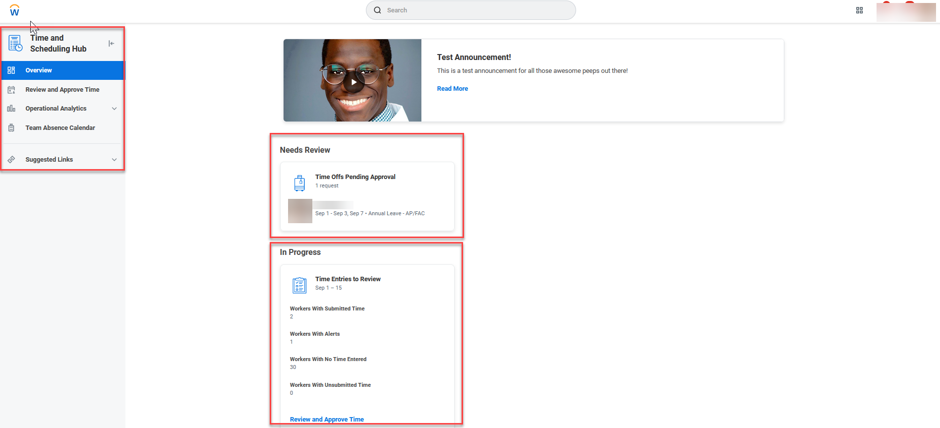 A screenshot of the new Time and Scheduling Hub for managers.