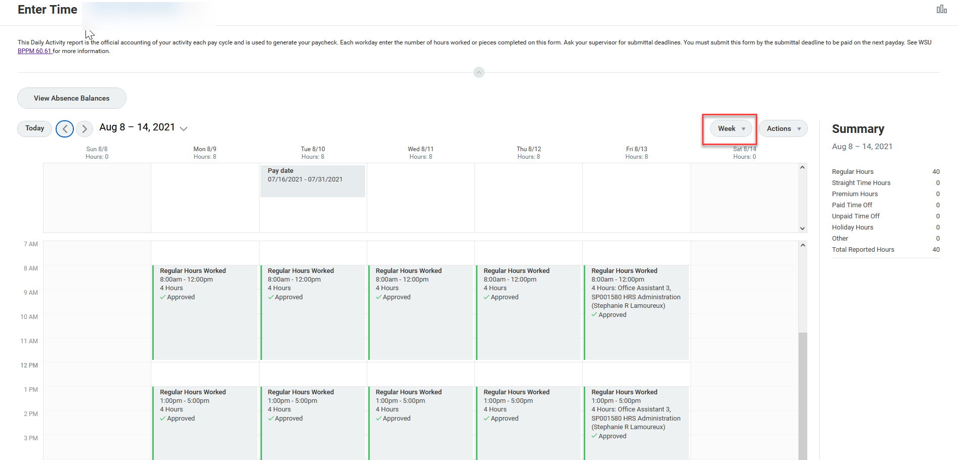 A screenshot of the default weekly Time Calendar view.