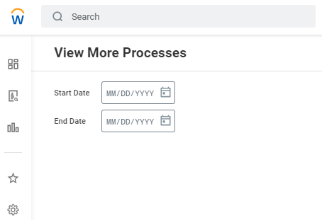 Enter the date ranges over which you'd like to view your processes performed.