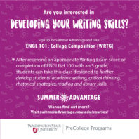 Are you interested in developing your writing skills? Sign up for Summer Advantage and Take English 101 College Composition Writing