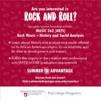 Are you interested in Rock and Roll? Sign up for Summer Advantage and take Rock Music History and Social Analysis
