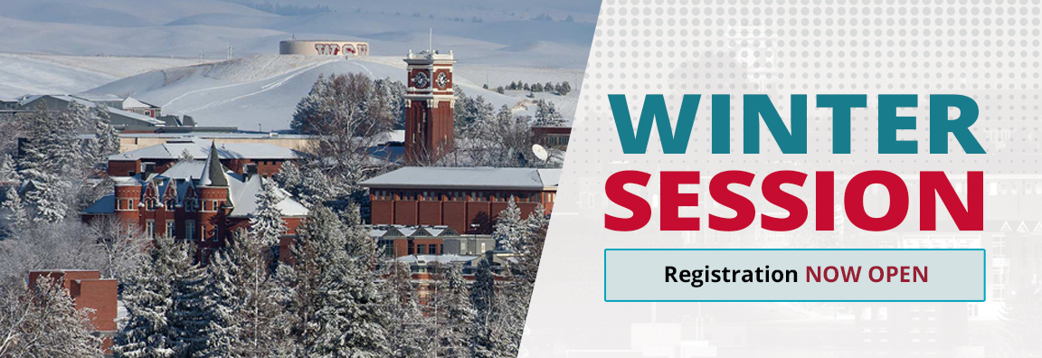WSU Campus in winter, text Winter Session Registration Now Open.
