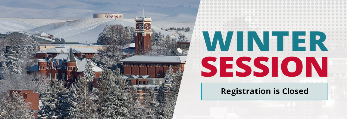 WSU Campus in winter, text Winter Session Registration closed.