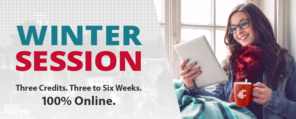 Banner text: Winter Session Three Credits, Three to Six Weeks, 100 Percent Online! Photo of woman with lap blanket, scarf, and Cougar mug, sitting in window smiling at iPad.