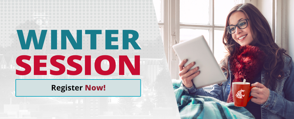 Banner text: Winter Session Register Now! Photo of woman with lap blanket, scarf, and Cougar mug, sitting in window smiling at iPad.