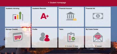 Screenshot: myWSU Student Homepage.