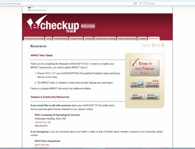 screenshot showing eCHECKUP webpage with button print results