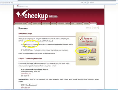 screenshot showing eCHECKUP webpage with link print results circled, do not use