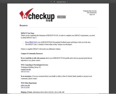 screenshot of the eCHECKUP sign-in webpage