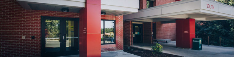 A view of the entrances to the medical and counseling clinics of the Washington building.