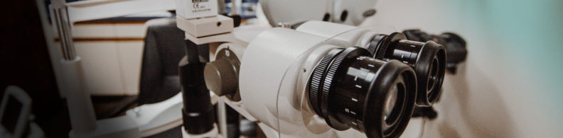 An up-close view of some optometry equipment.