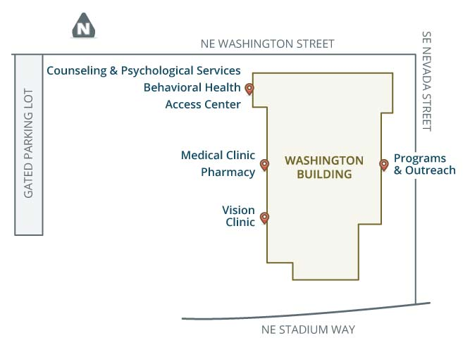 Map of the WSU Washington Building, at the intersection of NE Washington Street and SE Nevada Street.