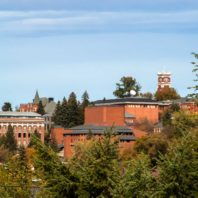 photo of WSU Pullman campus with buildings and trees