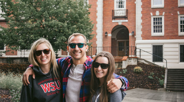 Three WSU students wearing Nike sunglasses