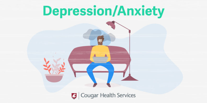 Illustration of a student sitting on a couch alone with dark clouds forming around their head.
