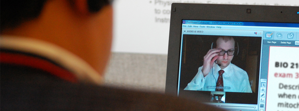 proctor watches student on computer screen