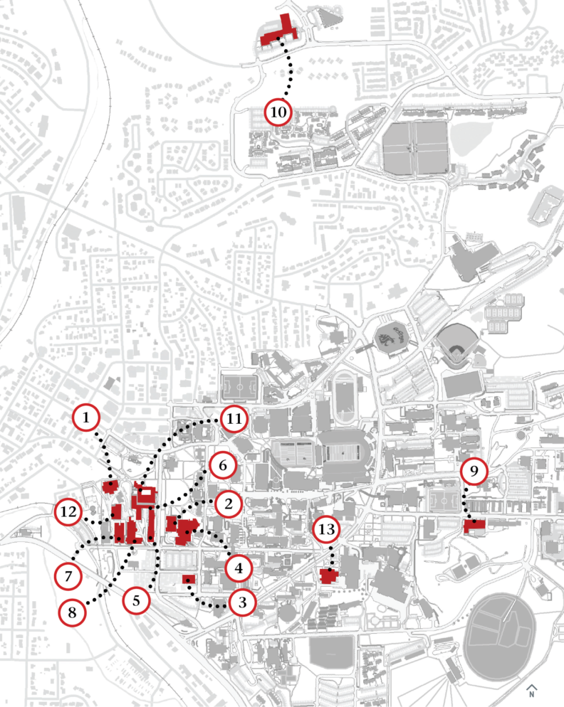 Map showing the locations of the 13 Voiland College buildings on the WSU Pullman campus.
